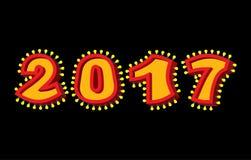 2017 com lâmpadas festão para o ano novo e o Natal Ponto retro Imagens de Stock