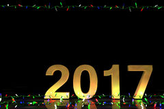 2017 com luzes coloridas no fundo preto Imagens de Stock Royalty Free