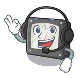 Com medidor da amperagem do fones de ouvido acima da tabela dos desenhos animados ilustração do vetor