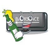 Com o botão do retrocesso da cerveja em um caráter do computador ilustração do vetor