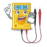 Com o multímetro digital do telefone no armário da mascote ilustração do vetor