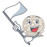 Com os bolos de arroz da bandeira isolados na mascote ilustração royalty free