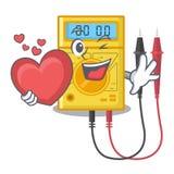 Com os brinquedos do multímetro digital do coração na forma dos desenhos animados ilustração royalty free