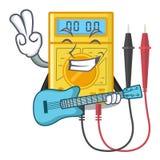 Com os brinquedos do multímetro digital da guitarra na forma dos desenhos animados ilustração royalty free