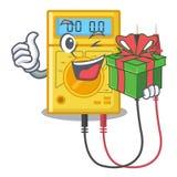 Com os brinquedos do multímetro digital do presente na forma dos desenhos animados ilustração stock