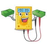Com os brinquedos do multímetro digital do saco do dinheiro na forma dos desenhos animados ilustração stock
