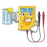 Com os brinquedos do multímetro digital do suco na forma dos desenhos animados ilustração stock