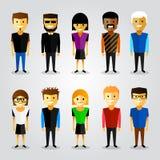 Com os povos felizes dos desenhos animados ilustração stock