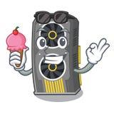 Com a placa gráfica video do gelado isolada com desenhos animados ilustração royalty free