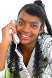 Com um telefone branco Imagem de Stock Royalty Free