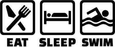 Coma ícones da nadada do sono ilustração royalty free