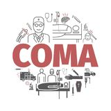 Coma banner. Hospital bed. Infographic line icons. Vector stock illustration