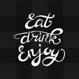 Coma a bebida apreciam a rotulação do VETOR, inscrição caligráfica branca no fundo da textura da tela ilustração royalty free