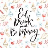 Coma, bebida e seja alegre Projeto de cartão do Natal com citações inspiradas ilustração royalty free
