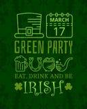 Coma, bebida e seja cartaz irlandês do vintage do grunge Fotografia de Stock