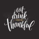 Coma, bebida e seja mão grata inscrição tirada, projeto da caligrafia da ação de graças Feriados que rotulam para o convite ilustração do vetor