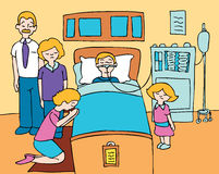 Coma Child. Sick child lays in a hospital bed with his family praying for his recovery Royalty Free Stock Image