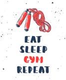 Coma, durma, o gym, repeti??o com esbo?o da corda de salto Rotula??o escrita ? m?o ilustração do vetor