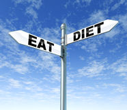 Coma e faça dieta o sinal de rua ilustração stock
