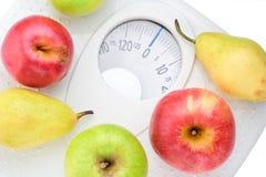 Coma el alimento sano y el peso flojo foto de archivo