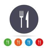Coma el icono de la muestra Símbolo de los cubiertos Bifurcación y cuchillo ilustración del vector