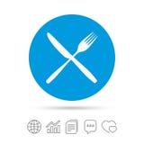 Coma el icono de la muestra Símbolo de los cubiertos Bifurcación y cuchillo stock de ilustración