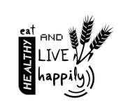 Coma felizmente a mensagem saudável e viva ilustração do vetor