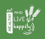 Coma felizmente a mensagem saudável e viva ilustração royalty free