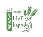 Coma felizmente a mensagem saudável e viva ilustração stock