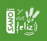 Coma felizmente a mensagem saudável e viva na língua espanhola ilustração do vetor