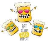 Coma a ilustração do conceito do vetor da repetição da cerveja do sono ou o cartaz do verão vector o caráter funky da cerveja com ilustração royalty free
