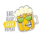 Coma a ilustração do conceito do vetor da repetição da cerveja do sono ou o cartaz do verão vector o caráter funky da cerveja com ilustração stock