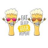 Coma a ilustração do conceito do vetor da repetição da cerveja do sono ou o cartaz do verão vector o caráter funky da cerveja com ilustração do vetor