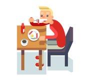 Coma a ilustração lisa isolada ovos fritos do vetor do caráter do projeto do ícone do indivíduo da cadeira de mesa de centro do c ilustração stock