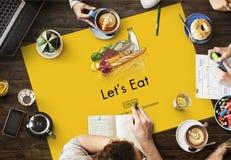 Coma la consumición de la nutrición viva que cena concepto de la comida de la dieta fotos de archivo libres de regalías