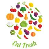 Coma la etiqueta fresca con la fruta y verdura Fotografía de archivo