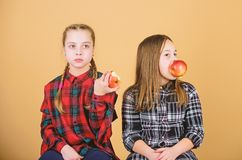 Coma la fruta para ser lindo Peque?as muchachas que comen manzanas juntas Las ni?as gozan de las frutas frescas Consumici?n linda foto de archivo