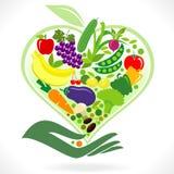 Coma las frutas y verdura sanas ilustración del vector