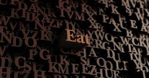 Coma - letras rendidas 3D de madeira/mensagem ilustração stock