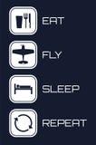 Coma los iconos de la repetición del sueño de la mosca en fondo azul Fotos de archivo libres de regalías