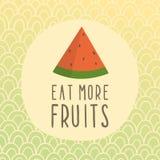 Coma mais cartão dos frutos com parte de melancia Imagem de Stock Royalty Free