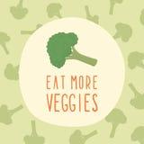 Coma mais cartão dos vegetarianos com brócolis Foto de Stock