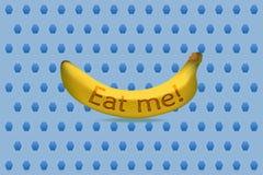 Coma-me ilustração do vetor da banana ilustração royalty free