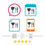 Coma o ícone do sinal Faca, forquilha e copo de vinho ilustração do vetor