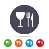 Coma o ícone do sinal Faca, forquilha e copo de vinho ilustração royalty free