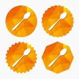 Coma o ícone do sinal Símbolo da cutelaria Colher de chá diagonal ilustração stock