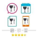 Coma o ícone do sinal Símbolo da cutelaria Forquilha e copo de vinho ilustração stock