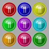 Coma o ícone do sinal Símbolo da cutelaria Forquilha e faca jogo ilustração royalty free
