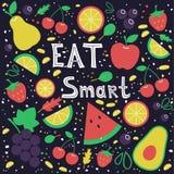 Coma o conceito esperto Frutas Mão desenhada ilustração royalty free