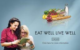 Coma o conceito orgânico bom de Live Well Fresh Healthy Nutrition Foto de Stock
